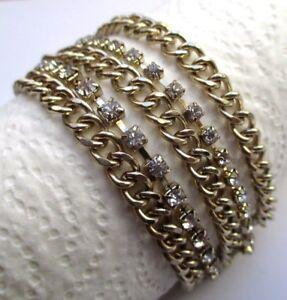 Bracelet 5 Rangs Maille Gourmette Couleur Or Cristaux Diamant Bijou Vintage 2421