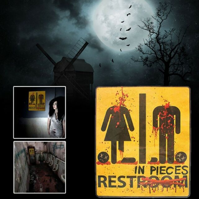Halloween Toilet Sticker Posters Paper Restroom Bathroom Horror Stickers Party