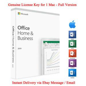 Microsoft Office 2019 Home Business Genuine License Key For Mac Ebay