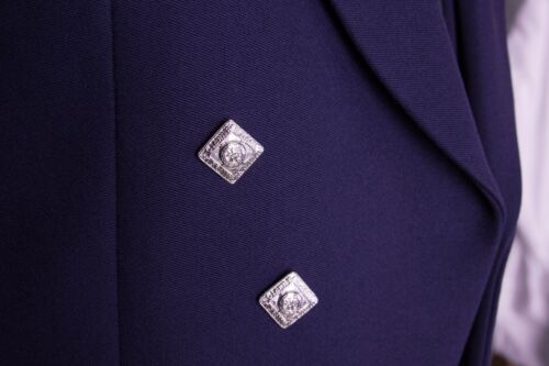 MENS EX HIRE WOOL NAVY BLUE PRINCE CHARLIE SCOTTISH KILT JACKET /& WAISTCOAT