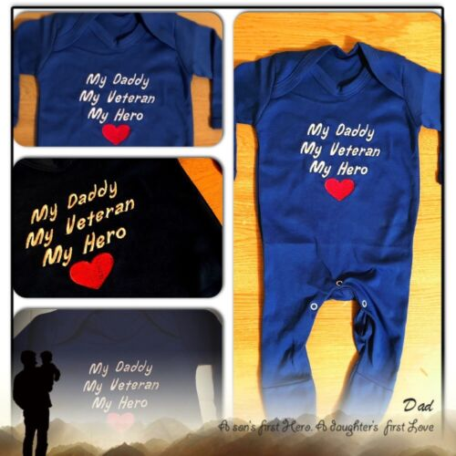 Embroidered Daddy My Hero Baby Grow,Bodysuit,Sleepsuit,Outfit Newborn Gift