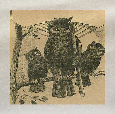 vintage owl illustration - Printed Fabric Panel Make A Cushion Upholstery Craft