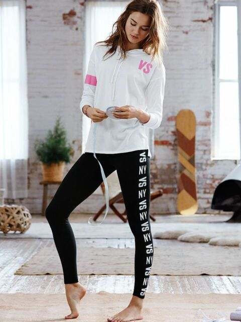 Women's Black Leggings Yoga Pants High Waist Slim Sportswear Side Print (Size 8)