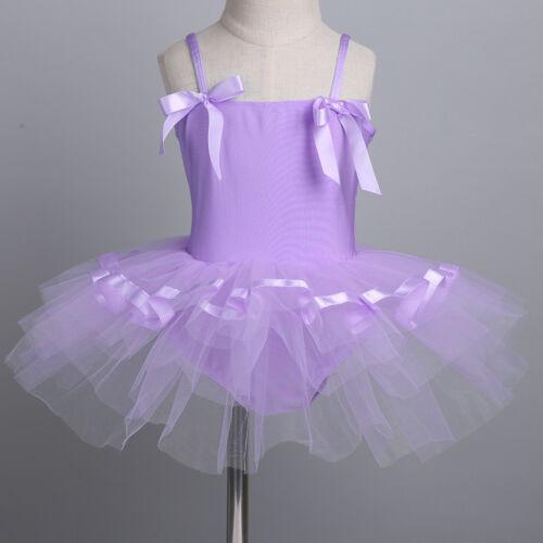 Girls Kids Ballet Tutu Dress Toddler Leotard Gymnastics Straps Dancewear Costume