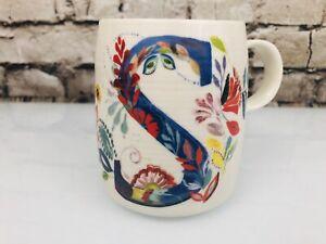 Anthropologie Starla M Halfmann Monogram S Initial Petal Palette Coffee Mug