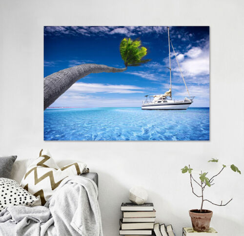 Details about  /3D Sea Boat Tree Wall Stickers Vinyl Mural Wall Print Decal Deco Art AJ STORE AU