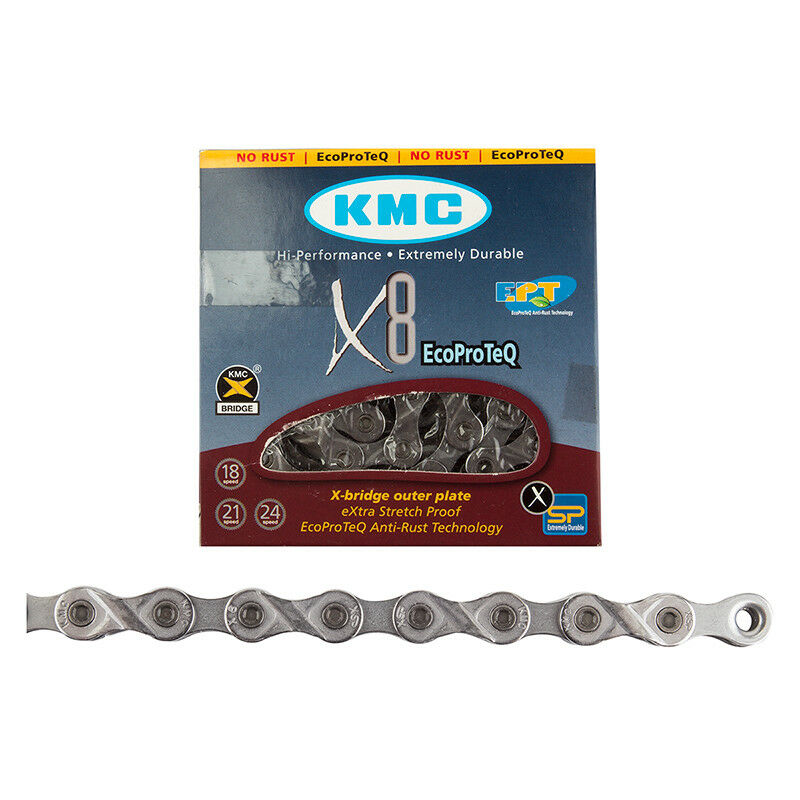KMC X8EPT 8--24 SPEED GREY MTB--ROAD BICYCLE CHAIN