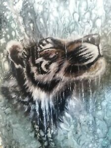 White Tiger in the Rain painting on acrylic pour by ...