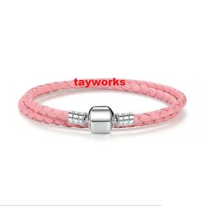 925 Sterling Silver Pink DOUBLE Leather Barrel Bracelet fit European Charm Bead