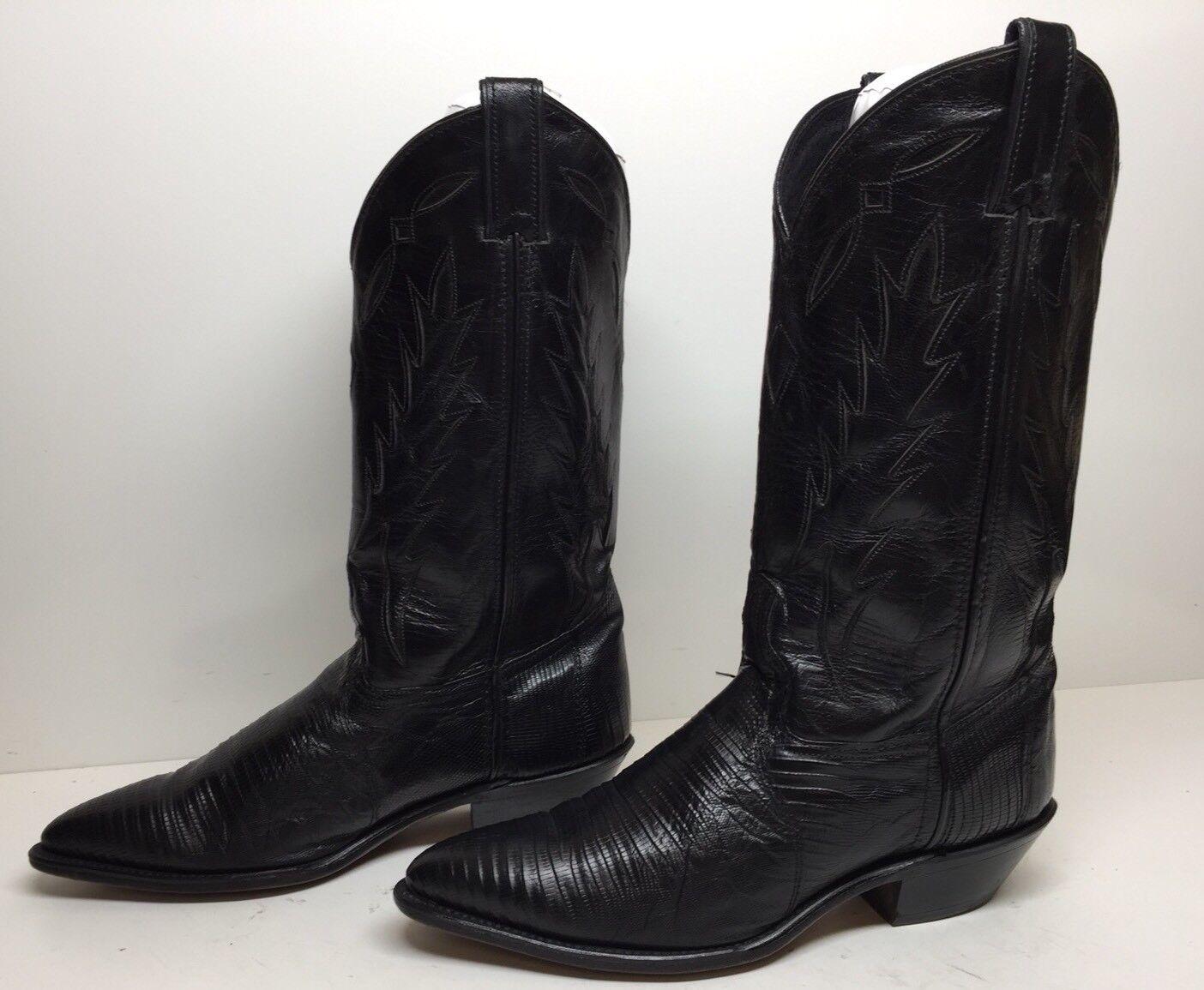 #L Damenschuhe CODE WEST COWBOY LIZARD SKIN INLAY LEATHER BLACK BOOTS SIZE 7 M