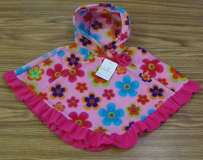 Girls' Fleece Hooded Poncho-PINK FLOWER-NWT Mack /& Co
