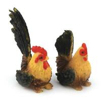 Dolls House Miniature Black And Yellow Hen And Cockerel Set