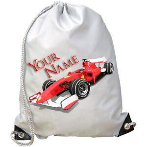 SWIMMING BAG FORMULA ONE F1 RACING CAR PERSONALISED GYM KIDS NAMED GIFT PE