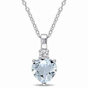 Amour Sterling Silver Aquamarine and White Sapphire Heart Necklace