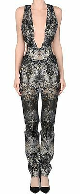 YIQING YIN Metallic Brocade Plunging Cut Out Open Back Dress Jumpsuit 36 4