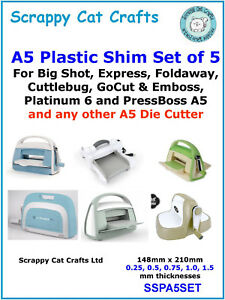 SSPA4SET  5 A4 Plastic Shims Set of 5 for Cut/'n/'Boss or any A4 Cutter