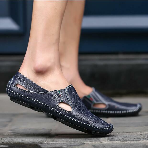 Mens Loafers Driving Moccasin Sandals Summer Shoes Flats Loafers Mens Casual Hollow Fashion T bfff6c