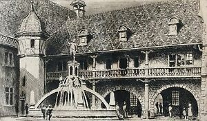Charles-Pinet-1867-1932-Colmar-Fountain-Schwendi-Engraving-Chisel