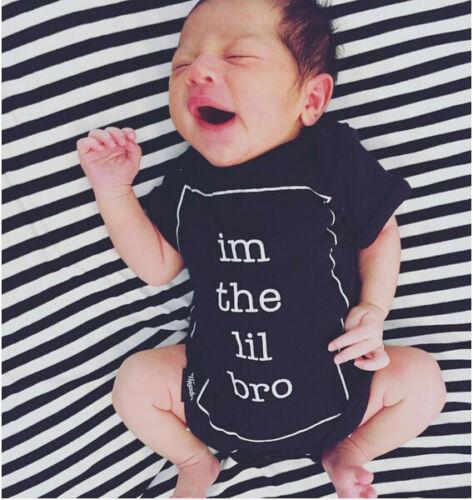 im the lil bro Newborn Infant Baby Boy Cotton Romper Bodysuit Clothes Outfits