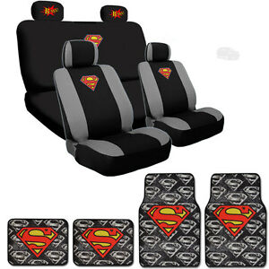 Image Is Loading Ultimate Superman Car Seat Covers BAM Logo Headrest
