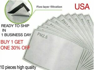 PM2.5 Activated Carbon Mask Filter Replaceable Anti Haze ship from USA (10 PCS)