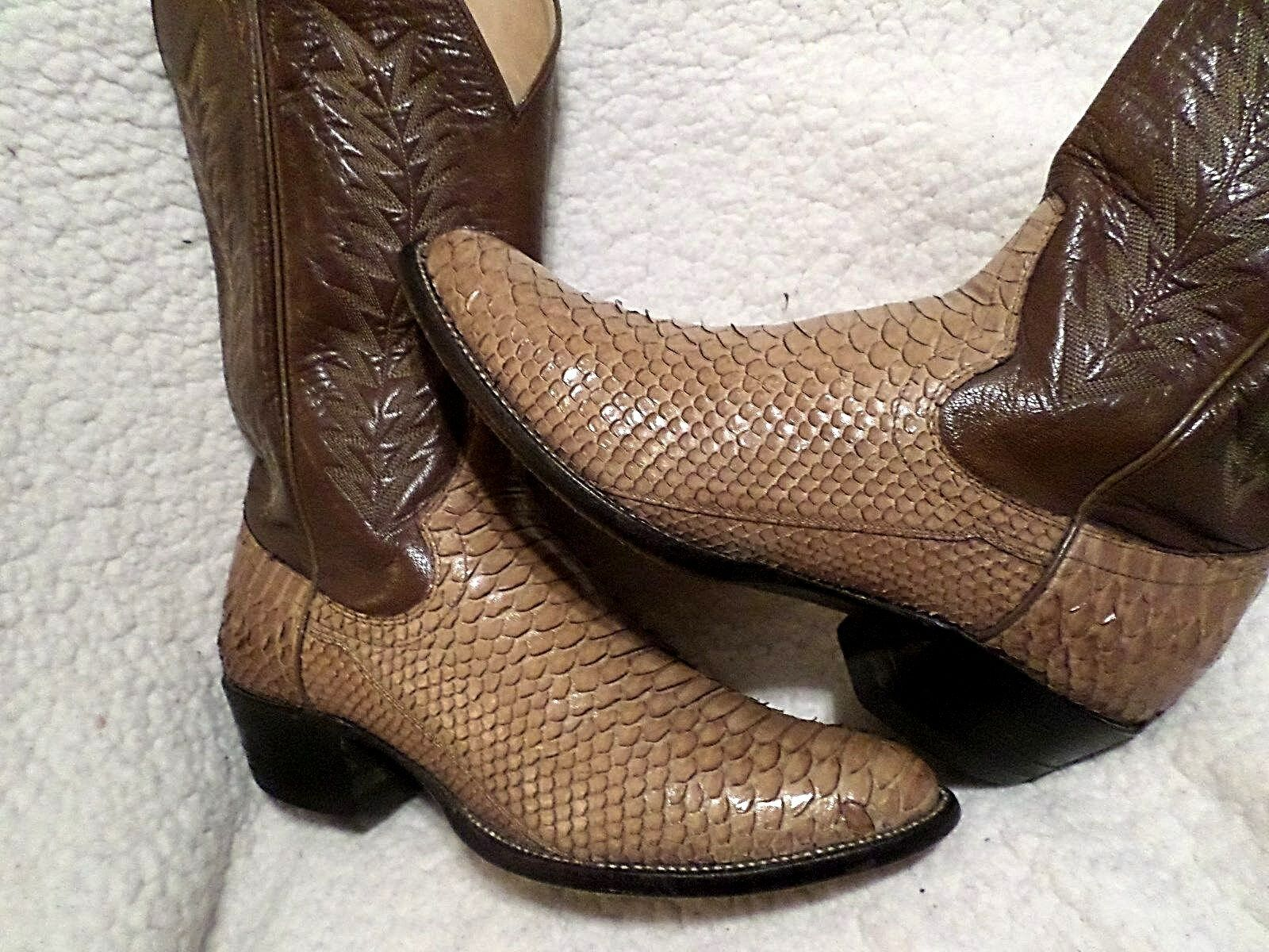 MEN PREOWN TOP QUALITY  SANDERS  PYTHON SNAKE & LEATHER COWBOY BOOTS-TAN-sz 9 D
