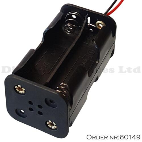PACK OF 100 AA x 4 Battery Holder Black With ~15cm Leads