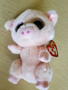 "Ty Beanie Boos PIGGLEY the Pig 6/"" Beanbag Plush Toy w// Glitter Eyes"