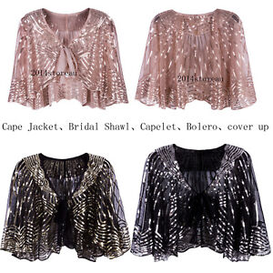 cb42c43bb2 Image is loading Vintage-Evening-Shawl-Wrap-Party-Poncho-Cape-Scarves-