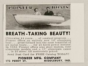 1955 Print Ad Pioneer 14 Aluminum Boats Middlebury Indiana Ebay