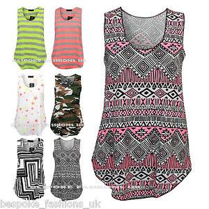 Women-039-s-Aztec-Stripe-Letters-Star-Print-Sleeveless-Vest-Tank-Ladies-Top-Tee