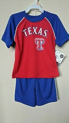 *nwt Official toddler Boy's 2-pc Texas Ranger Jersey Short Set 4t Relieving Rheumatism And Cold 2t Mlb