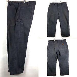 Carhartt-B11-Dungaree-Fit-Gray-Carpenter-Work-Mens-Pants-Size-36X32-36X28