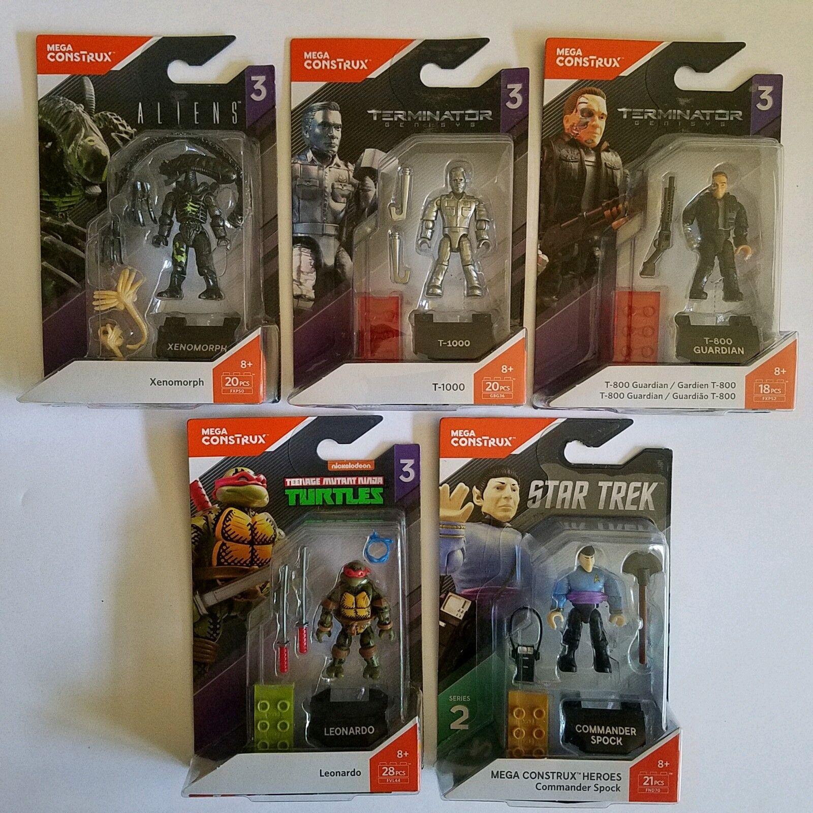 Mega - construx menge 5 mini - action - figuren aliens, star trek, terminator, tmnt