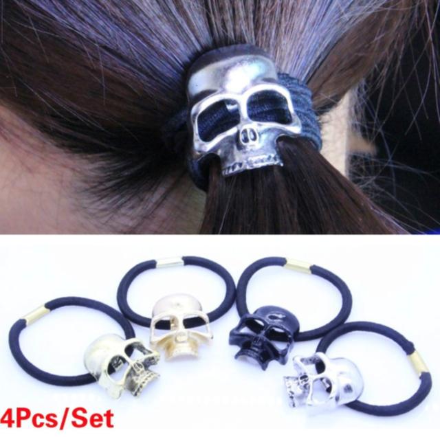 Top Sale Punk Skull Head Skeleton Pony Tail Holder Organiser Elastic Hair Ropes