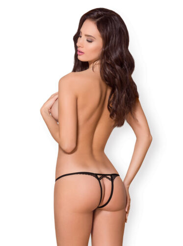 OBSESSIVE 876 Luxury Super Soft Decorative Patterned Crotchless Thong