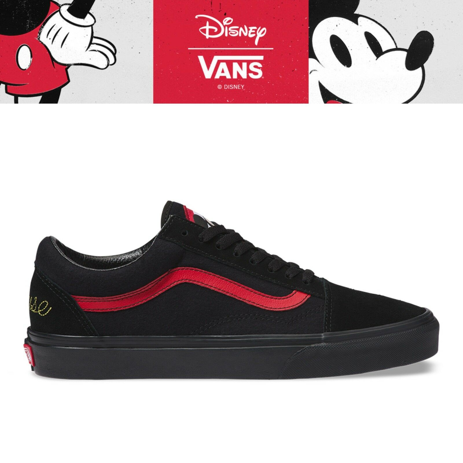 New VANS X DISNEY Old Skool Mickey Mouse 90th Collection Unisex Sneakers - Black
