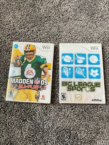 Wii 2 Game Lot- Big League Sports w/Manual & Madden 09 All Play Nintendo