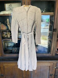 Vintage-Womens-1930-s-40-s-Dress-Jacket-Applique-Crepe-Rayon-Silk-Rare