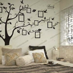 Image is loading Huge-Family-Photo-Frames-Tree-Birds-Fly-Wall-