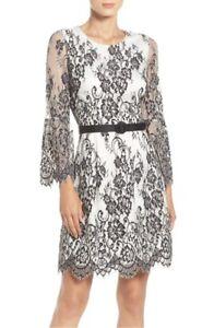 59a3d46f6e9 Eliza J White Black Floral lace A-line Dress Sheer Bell Sleeve Belt ...