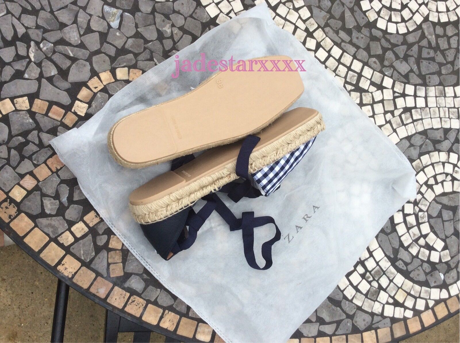Navy Zara Checked Espadrilles New 5 37 Sandals Lace Up Leather Flats Sandals 37 White BNWT 386b2a