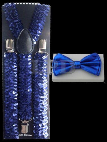 Blue Sequin Suspenders /& Blue Metallic Finish Shiny Bow Tie Set  Classic Combo