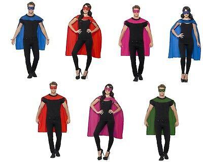 Men's Donna Adulti Supereroe Mantello E Maschera Occhi Set Costume Vestito-mostra Il Titolo Originale