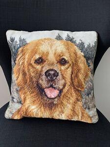 Vintage-Needlepoint-Golden-Retriever-Dog-Decorative-Pillow-Velvet-Backing-13x13