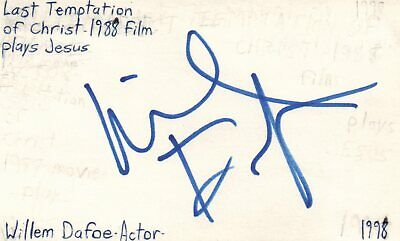 Movies Smart Willem Dafoe Actor Last Temptation Of Christ Movie Autographed Signed Index Card Relieving Rheumatism And Cold