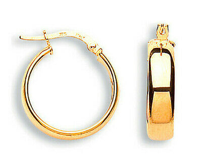 9CT HALLMARKED POLISHED ROSE GOLD STARSHINE 18MM X 6MM ROUND HOOP EARRINGS
