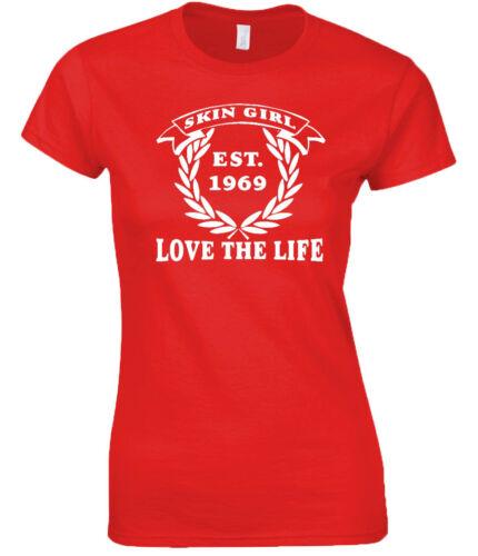 T-shirt fille de la peau Mesdames Amour Vie de la conception originale Skinhead SKINGIRL est 69
