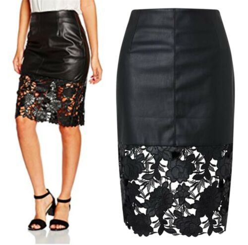 Femmes 8-14 noir en cuir synthétique Jupe Découpe Laser Floral Détail RRP £ 120