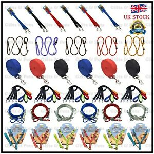 Variety-of-Dog-Training-Leads-Pet-Leash-Chain-Coupler-Slip-Padded-Strong-Nylon